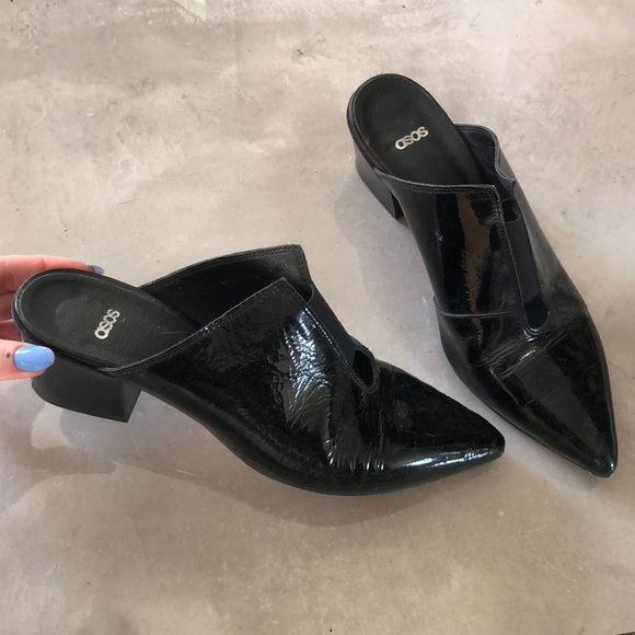 ASOS Shoes | Black Patent Leather Mules